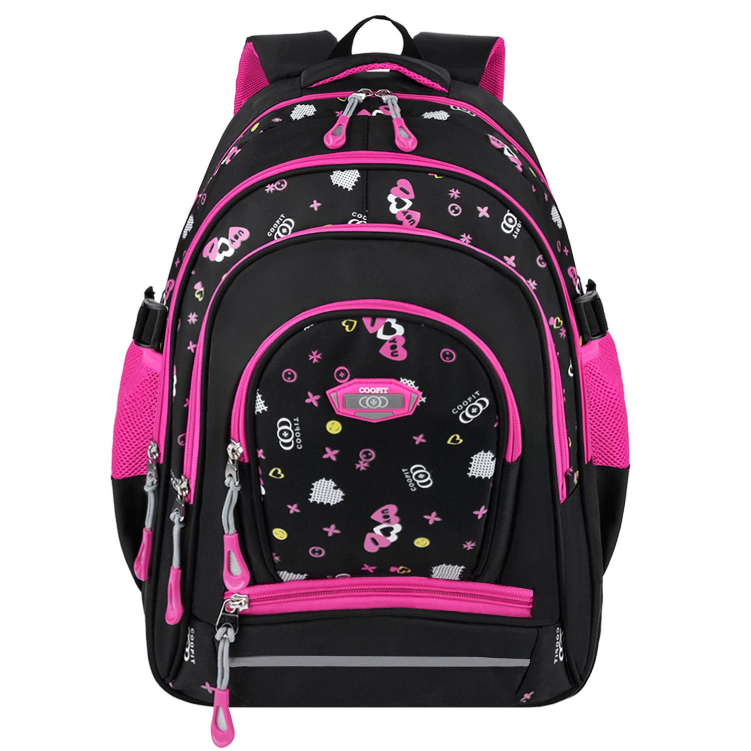 School Backpack, Coofit Large Multi Pocket Printed Student Backpack Travel Rucksack Daypack for Kids Boys Girls