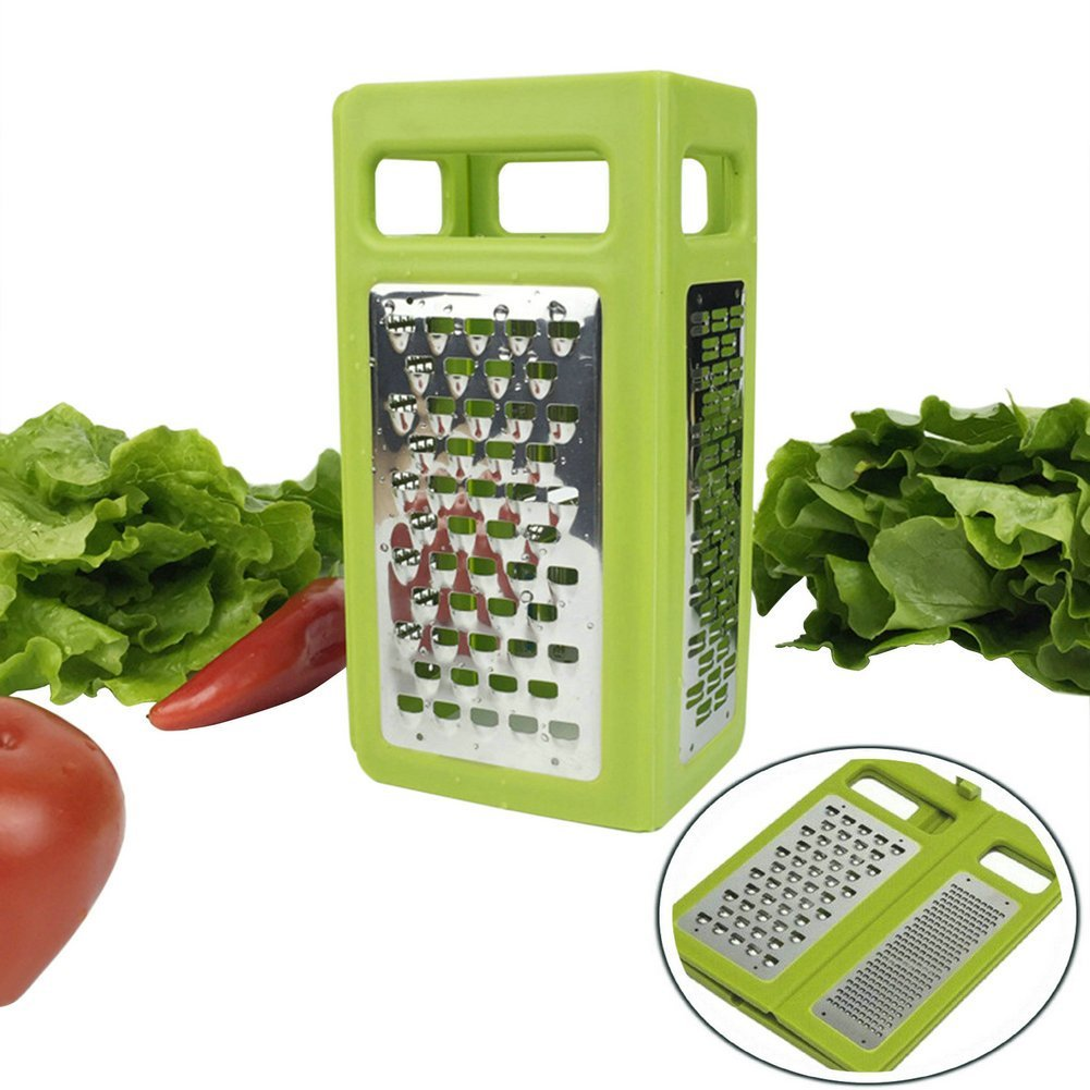 Folding Box Grater 4-Sided Stainless Steel Blades 4 In 1 Flat Graters For Cheese Vegetables Ginger Chocolate Potatoes Slicer Space Saving