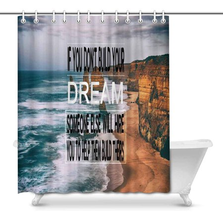 POP Inspirational Quote on Blurred Prints Shower Curtain for Bathroom Sets 66x72 inch - image 1 of 1