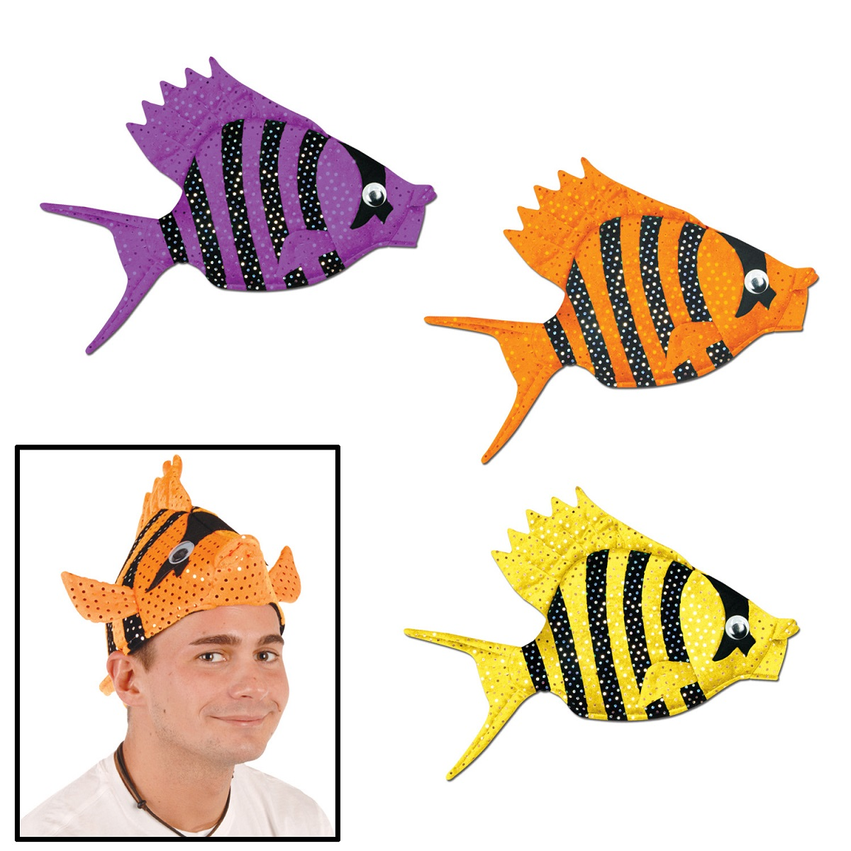 Pack of 6 Cute Purple, Orange and Yellow Plush Tropical Luau Fish Party Hats