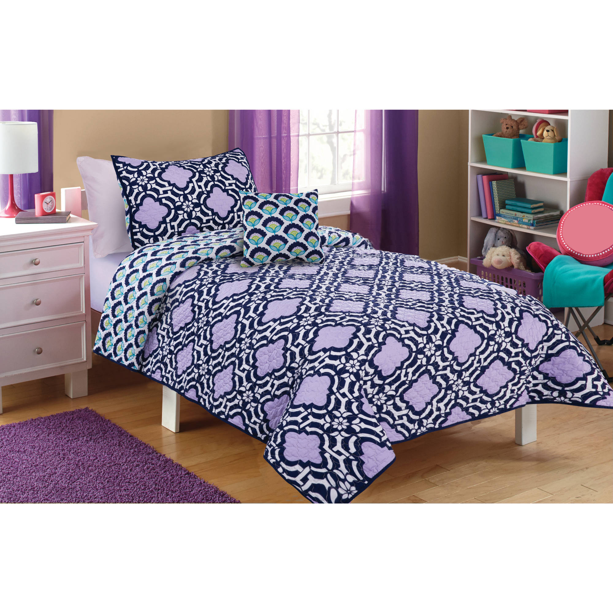 Better Homes & Gardens Kids Indigo Trellis Quilt Set Twin