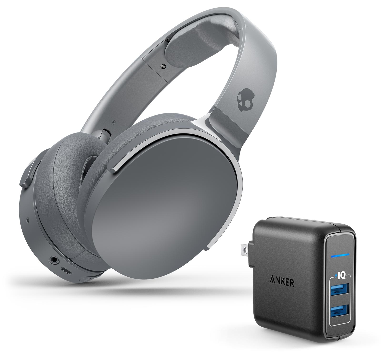 Skullcandy HESH 3 Wireless Gray Headphones w/Anker 2 Port Wall Charger