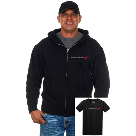 JH Design Group Men's Dodge Challenger Zip-Up Hoodie & T-Shirt Combo Gift