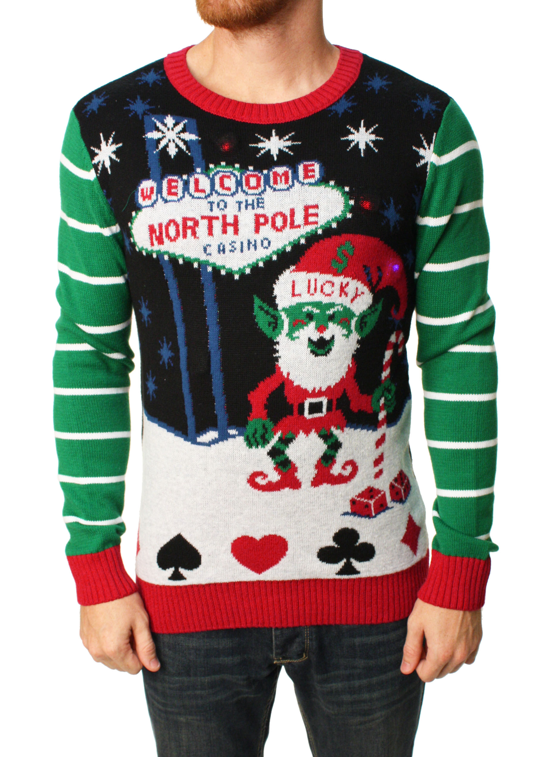 Ugly Christmas Sweater Men\'s North Pole Casino LED Light Up Sweater ...