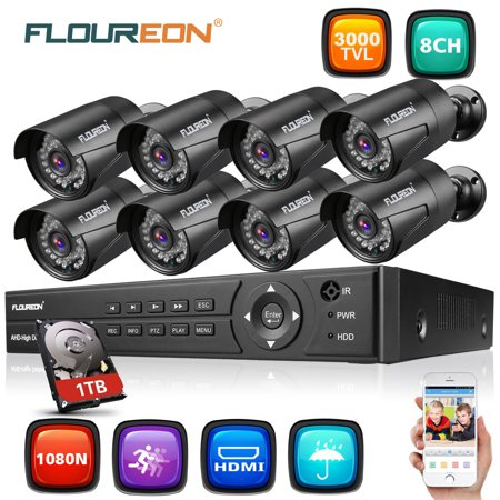 FLOUREON 8CH 1080N HDMI AHD DVR 3000TVL Outdoor 720P CCTV Camera Home Security Surveillance (Best Outdoor Cctv Camera)