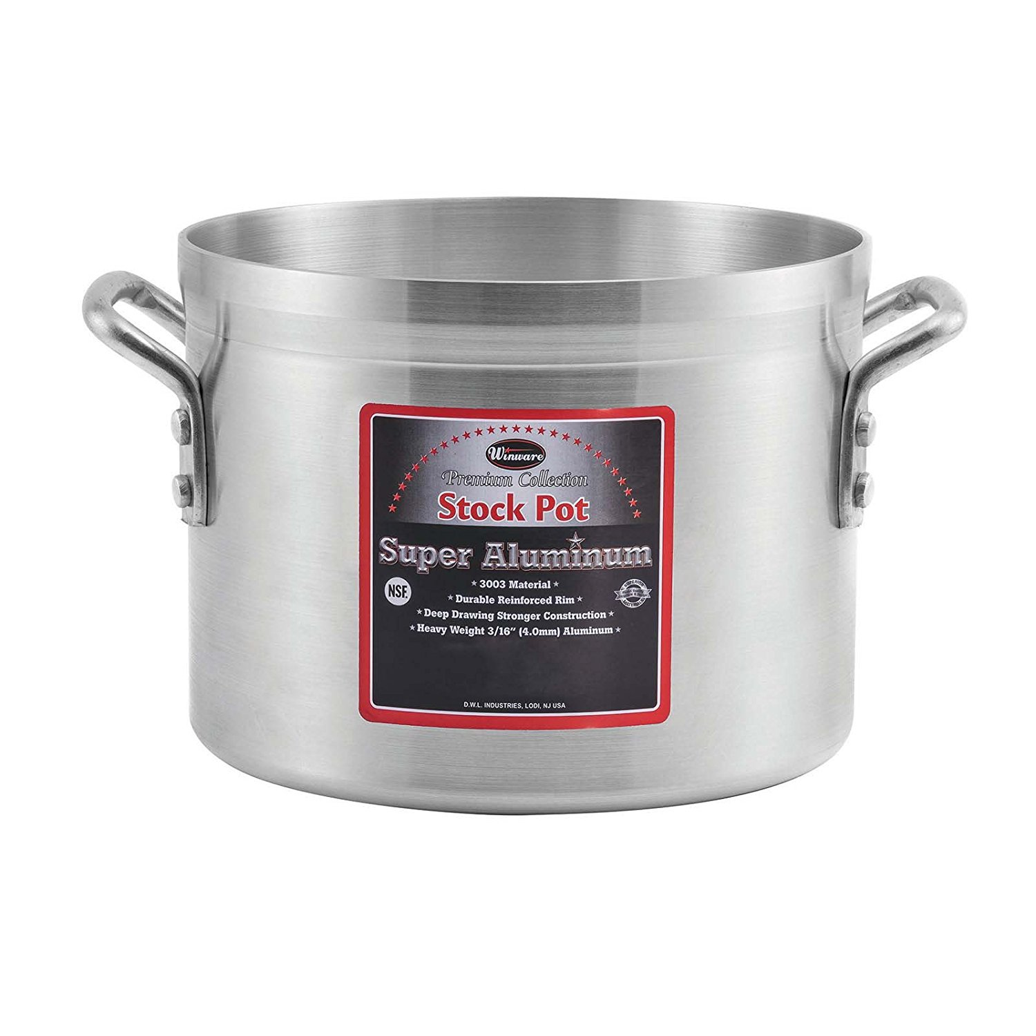 Winco AXSI-10, 10-Quart Induction Ready Aluminum Stock Pot with 0.1-Inch Stainless Steel Bottom