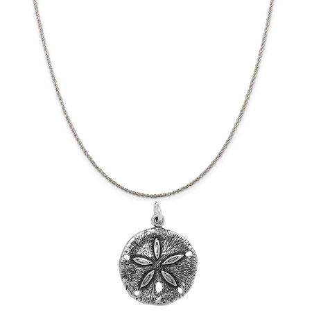 Sterling Silver Sand Dollar Charm on a Sterling Silver 16 Rope Chain Necklace