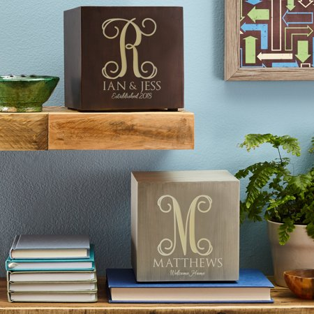 Personalized Weathered Initial Light-Up Cube - Espresso-Available in 2 Colors](Light Up Cubes)
