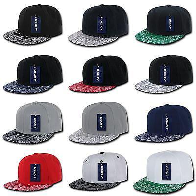05cd997beb6031 Plain Solid Blank Paisley Bandana Print Brim Flat Bill Snapback Baseball  Hat Cap-White/Black