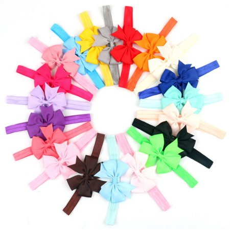 20 Pieces Girl Baby Girls Infant Boutique Wave Hair Flower Headband Hair Bow Band (Silk Flower Headbands)