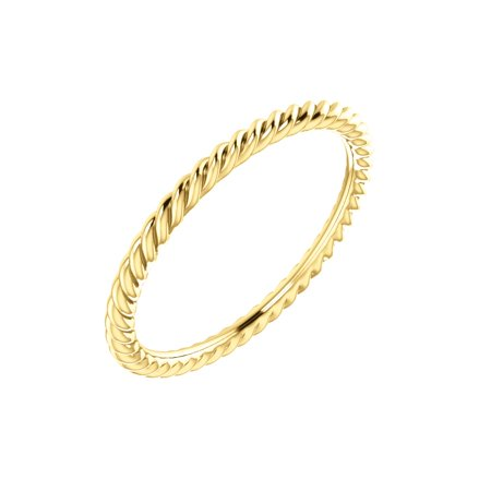Jewels By Lux 10K Yellow Gold Skinny Rope Bridal Wedding Ring Band Size 5
