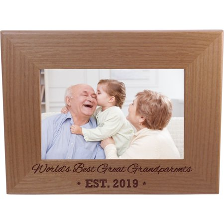 World's Best Great Grandparents EST. 2019 4-inch x 6-Inch Wood Picture