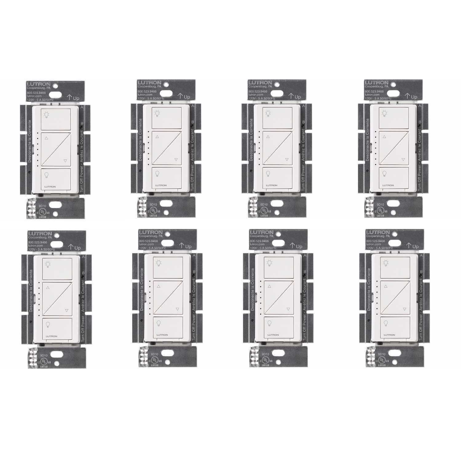 Lutron PD-6WCL-WH Caseta Wireless Smart Lighting Dimmer Switch (White, 8-Pack)