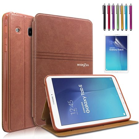 Mignova Samsung Galaxy Tab E 9.6 Case - Slim Lightweight Stand Cover for Samsung Tab E Wi-Fi / Tab E Nook / Tab E Verizon 9.6-Inch Tablet ( SM-T560 / T561 / T565 / T567V) (Brown) (Galaxy Tab 4 7 In Nook Case)