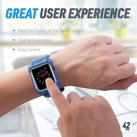 42mm Apple Watch Band by Zodaca Rugged Protective Watch Band Replacement Strap For Apple Watch Series 1/2/3 42mm - Blue/White - image 2 de 7