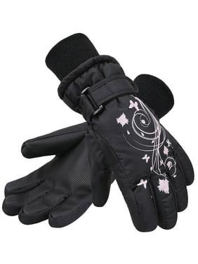SimpliKids Girl's Waterproof 3M Thinsulate Winter Ski & Snowboard Gloves, Butterfly Print,S,Black