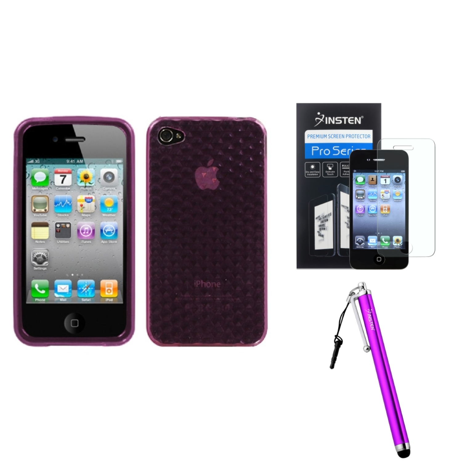 Insten Purple Cube Candy Skin Case For iPhone 4 4S + Stylus + LCD Film