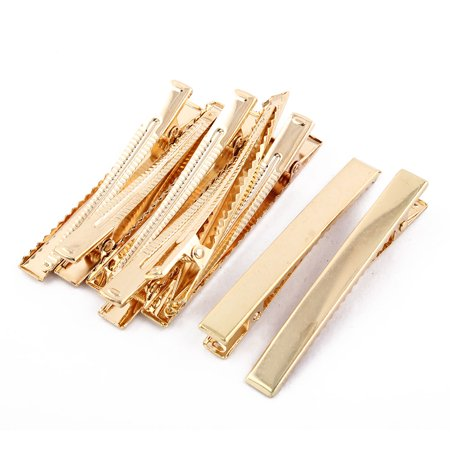 Duckbill Alligator Hair Clips Hairclip Hairpins Barrette Gold Tone 8cm Long 8pcs