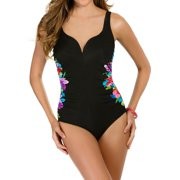 Miraclesuit 363830 Brite Side Plunge Neck Pattern One Piece Swimsuit