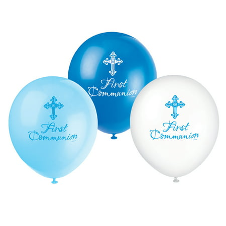Latex Boy First Communion Radiant Cross Balloons, 12 in, Blue, 8ct - First Communion Present