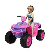 12V Ride on Toys, Kids 4-Wheeler ATV Quad Ride-On Car Toy, Rechargeable Battery-Powered ATV Ride On Car Toy, Electric Pink Ride On Toys for Boys Girls Ages 3-7, 2 Speeds, LED Lights, MP3 Music, L5343