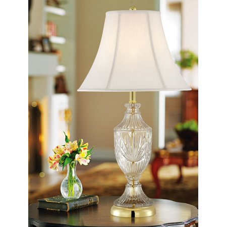 Regency Hill Traditional Table Lamp Cut Glass Urn Brass White Cream Bell Shade for Living Room Family Bedroom Bedside Nightstand