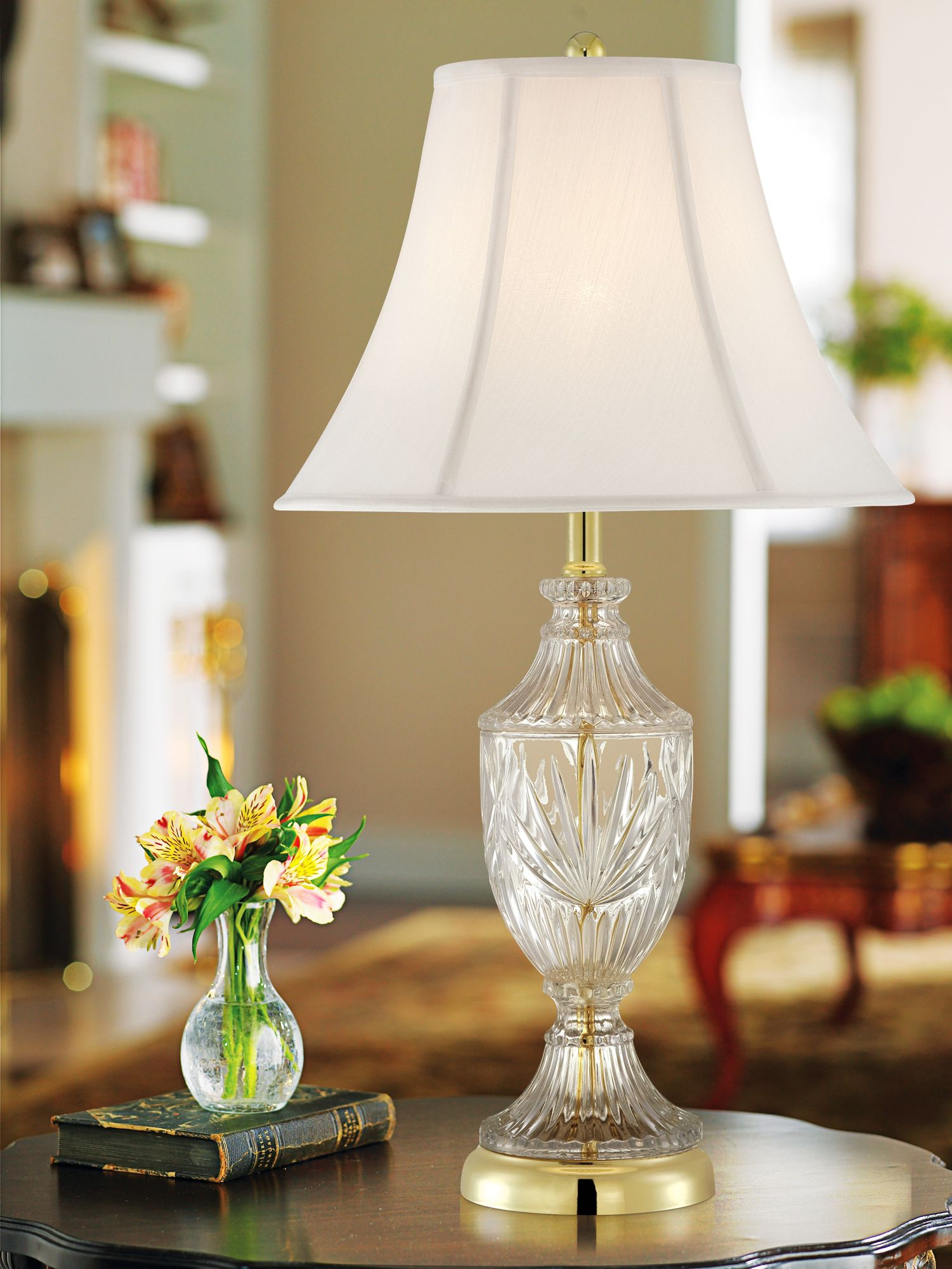 Regency Hill Traditional Table Lamp Cut Glass Urn Brass White Cream Bell  Shade For Living Room Family Bedroom Bedside Nightstand   Walmart.com