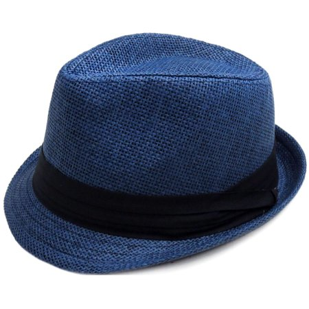 Fashion Design Straw Fedora Hat Trilby Cap w/ Short Brim, Navy, - Short Brim Fedora Hat