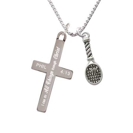 Tennis Racquet - I Can Do All Things - Cross Necklace