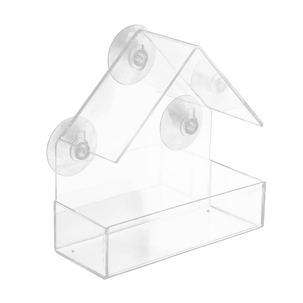 Clear Glass Window Hanging Bird Feeder House Table Seed Peanut Hotel Suction sl
