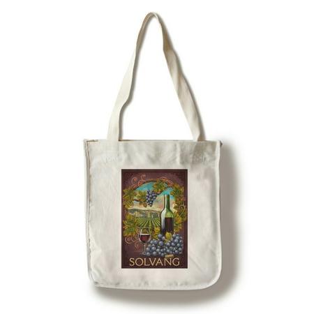 Solvang, California - Merlot - Lantern Press Artwork (100% Cotton Tote Bag - (Family Merlot)