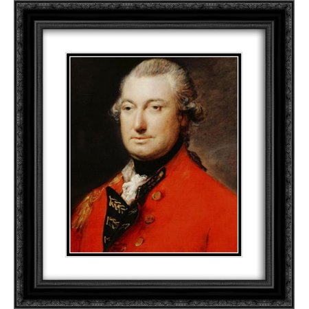 thomas gainsborough 2x matted 20x24 black ornate framed art print