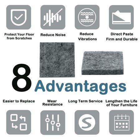 "Felt Furniture Pads 1 1/2"" Self Adhesive Anti-scratch Table Leg Protector 12pcs - image 5 de 7"