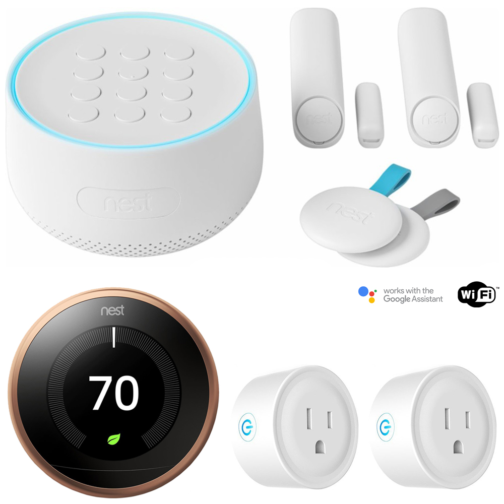 Nest Secure Alarm System Starter Pack (H1500ES) w/ Thermostat Bundle Includes, Nest T3021US Learning Thermostat, 3rd Gen (Copper) and Deco Gear 2 Pack WiFi Smart Plug