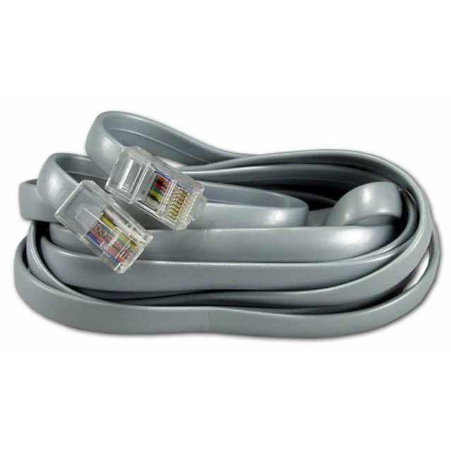 QVS CC934-07 7 ft. RJ45 Male to Male Telco 8Wires Flat Silver Satin Patch Data Cable