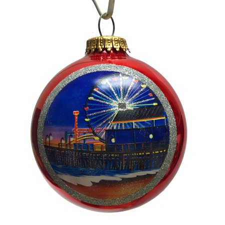 Santa Monica Pier California Glass Ball Christmas Ornament ...