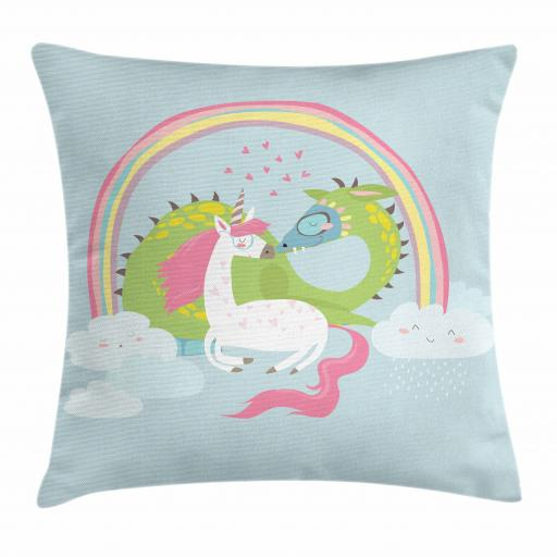 Kids Girls Throw Pillow Cushion Cover, Love of Dragon and Unicorn Couple Magical Romance Flirting Baby Cartoon, Decorative Square Accent Pillow Case, 16 X 16 Inches, Baby Blue Pale Pink, by Ambesonne