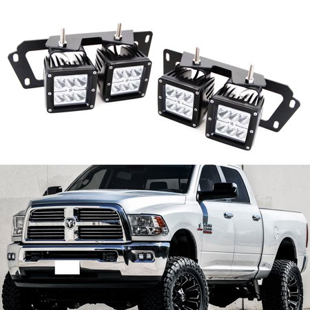 iJDMTOY (4) 24W High Power Dually 2x3 LED Pod Lights w/ Fog Lamp Location Mounting Brackets & Wiring Kit For 2009-2012 Dodge RAM 1500 & 2010-up Dodge RAM 2500 3500 (2018 Ram 1500 Led Fog Lights)