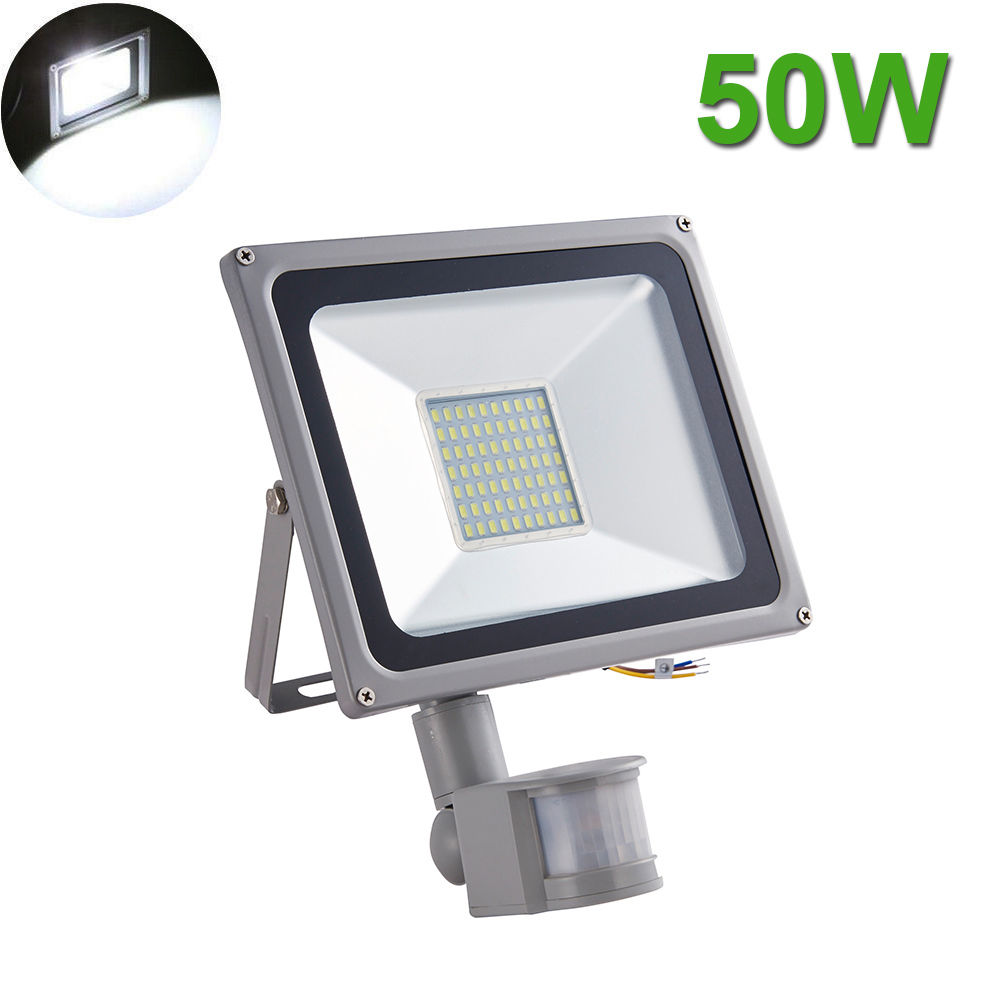 50W LED Flood Light SMD Outdoor Lamp PIR Motion Sensor Cool White Fixtures