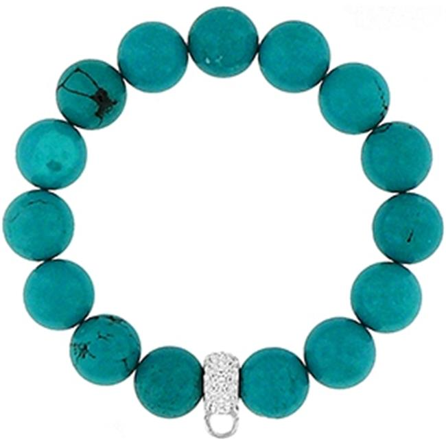 Doma Jewellery MAS00214 Bracelet with Crystal Charm Enhancer- 12mm Synthetic Turquoise Beads