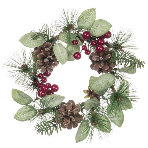 The Holiday Aisle 8.5'' Pine and Cone with Berry Wreath (Set of 2)