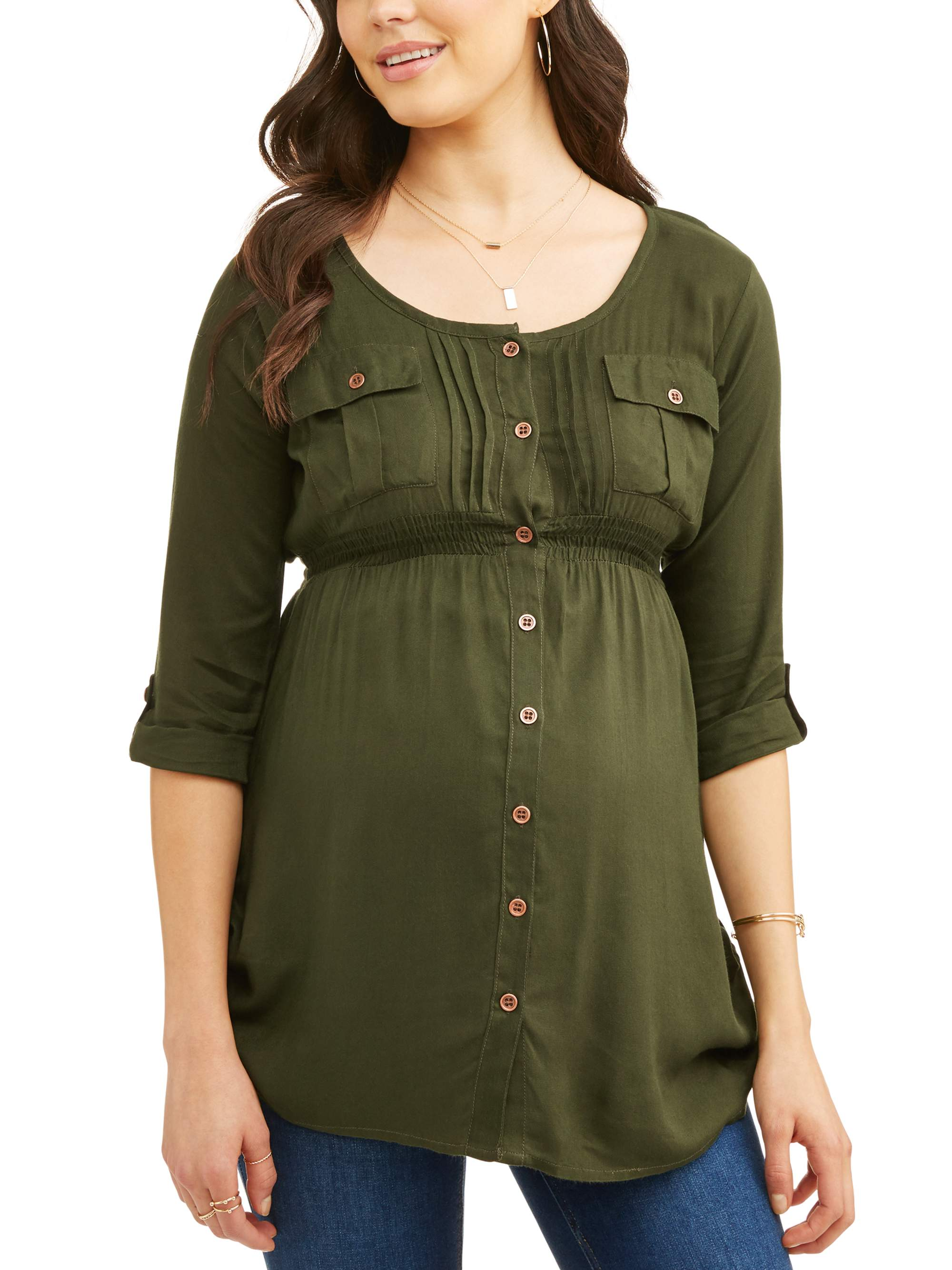 Maternity Button Up Shirred Roll Tab Sleeve Tunic Available in Plus Sizes by I E INDUSTRIES
