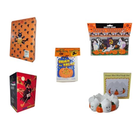 Halloween Fun Gift Bundle [5 Piece] -  Cat Pumpkin Push In 5 Piece Head Arms Legs - Ghostly Magic Paper Trimmer 3.75 in x 9 ft. -  Trick or Treat Bags 40/ct -  Animated 16