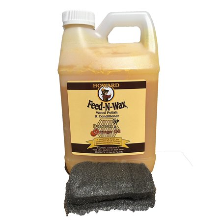 Howard Feed-N-Wax Restorative Wood Furniture Polish and Conditioner 64 Ounce 1/2 Gallon, Beeswax Feeds Wood, Antique Furniture