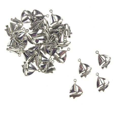 Metal Nautical Sailboat Charms, Silver, 5/8-Inch, 35-Count
