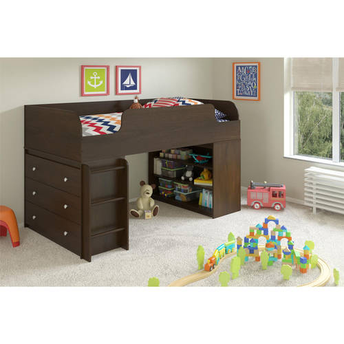 Cosco Elements Loft Bed Twin with 3-Shelf Bookcase & 3-Drawer Dresser, Resort Cherry