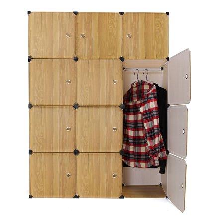 Portable Closet Storage Organizer Cabinet 12 Cube Clothes Toy Shoe Rack Shelf Wardrobe Shelves Decor Diy Home Bedroom Office Book Living