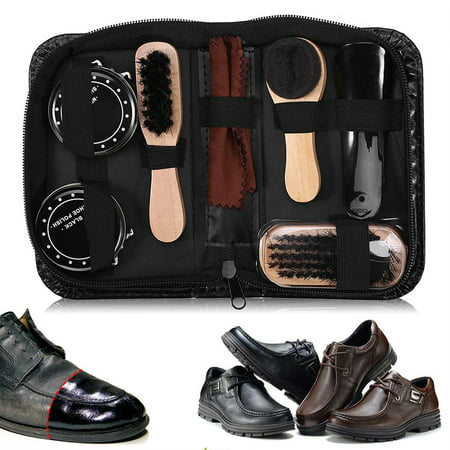 WALFRONT 8Pcs Leather Shoes Care Tools BootPolishing Cleaning Kit with Black & Neutral Shoe (Best Way To Clean Leather Shoes)
