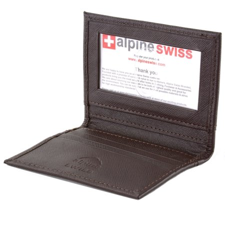Alpine Swiss Thin Front Pocket Wallet Business Card Case 2 ID Window 6 Card Slot 2 Pocket Card Case