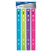 "BAZIC Jeweltones Color Plastic Ruler 12"" (30cm), School Supplies (4/Pack), 1-Pack"